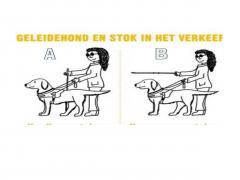 Bij welke plaatje geeft de blinde aan met zijn stok te willen oversteken?plaatje